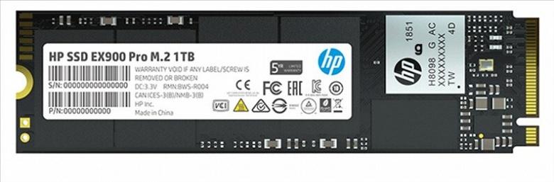 На твердотельные накопители HP EX900 Pro типоразмера M.2 с поддержкой NVMe 1.3 будет предоставляться пятилетняя гарантия