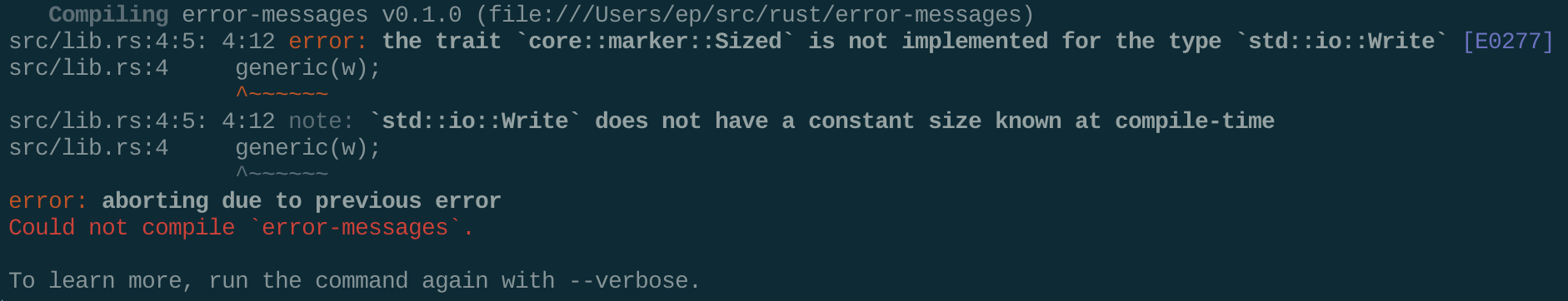 A terminal screenshot of the 1.2.0 error message.