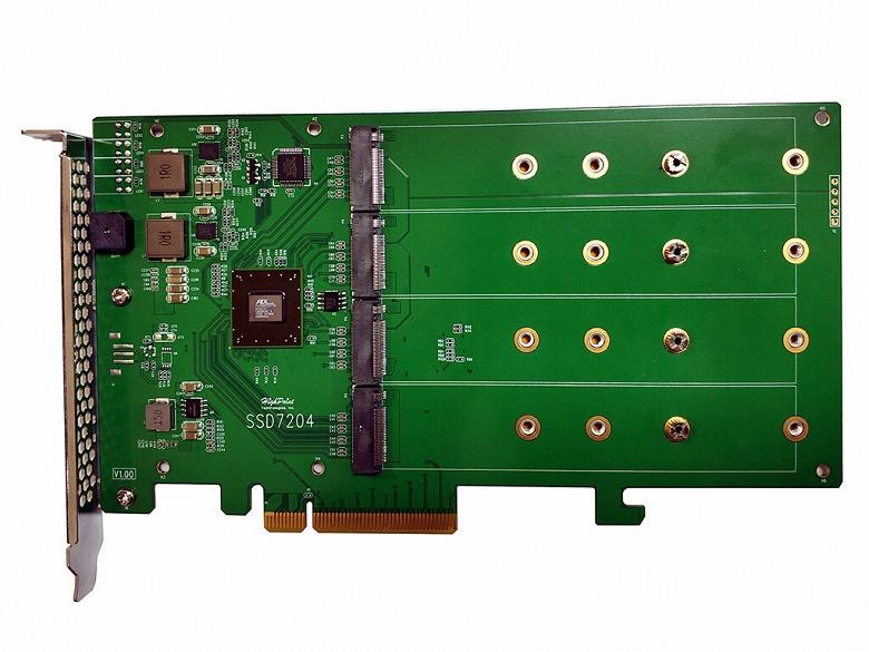 HighPoint SSD7204 — RAID-контроллер, рассчитанный на четыре накопителя NVMe и поддерживающий начальную загрузку