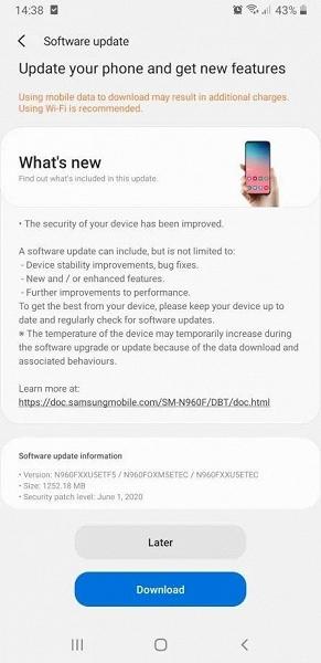 Новейшая оболочка Samsung пришла на смартфон 2018 года. Galaxy Note9 получил One UI 2.1