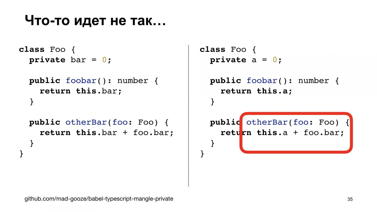 Минифицируем приватные поля в TypeScript. Доклад Яндекса - 35