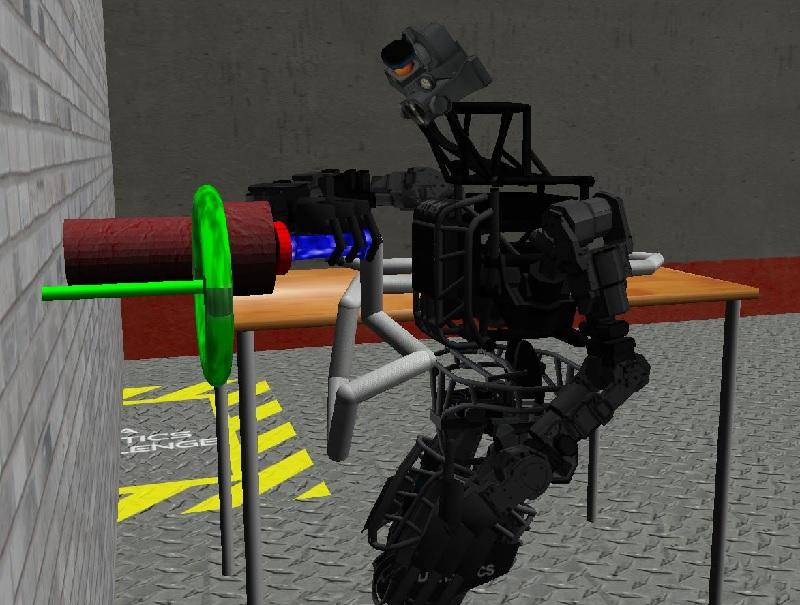 Симуляция в Gazebo: Atlas подключает шланг к трубе