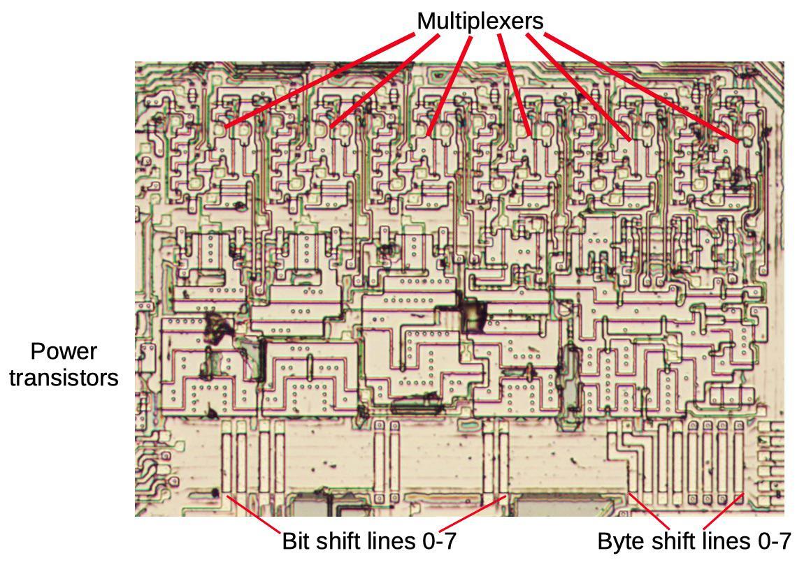 Анализ кристалла сдвигового регистра у математического сопроцессора 8087 - 10