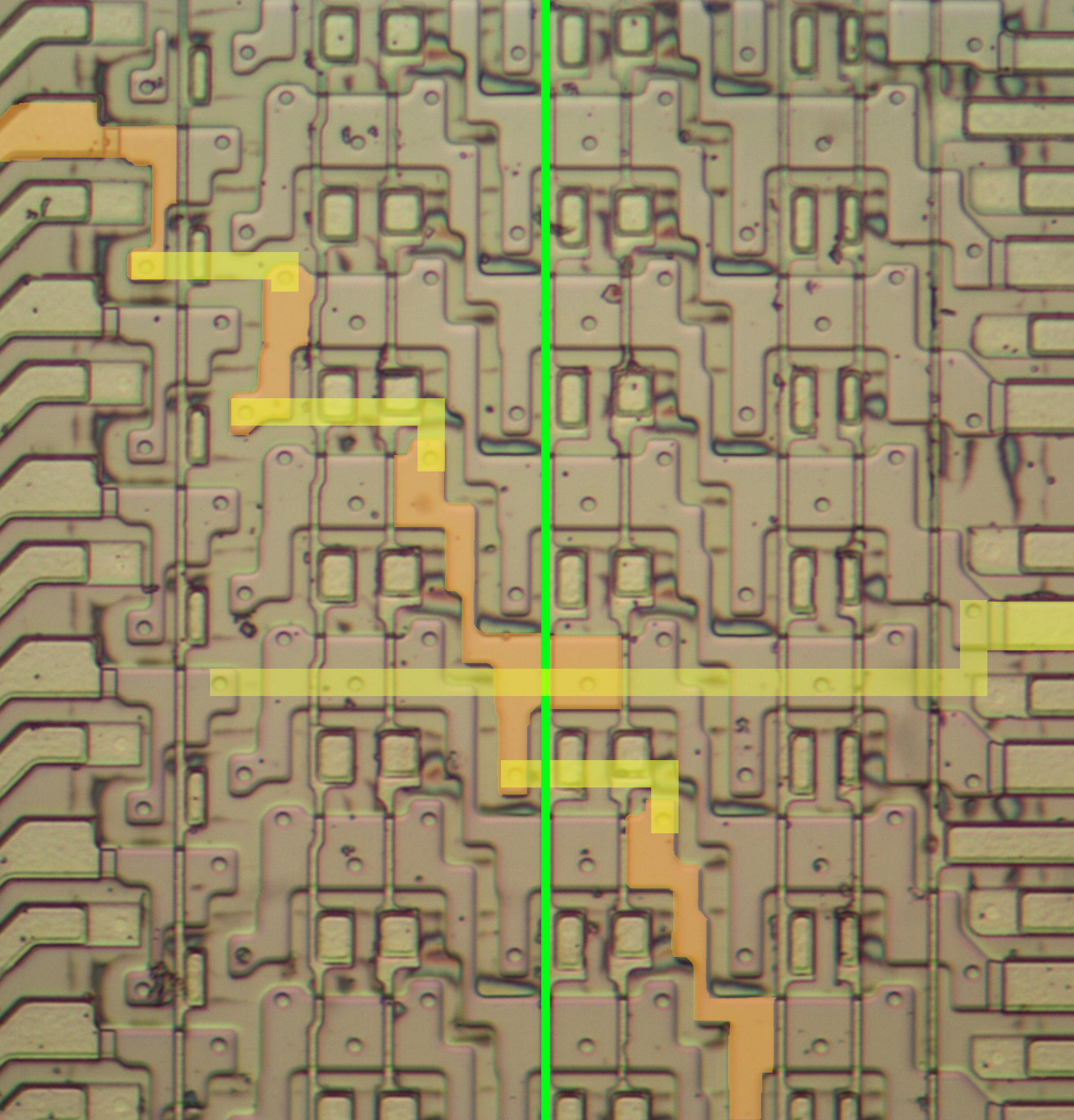 Анализ кристалла сдвигового регистра у математического сопроцессора 8087 - 6