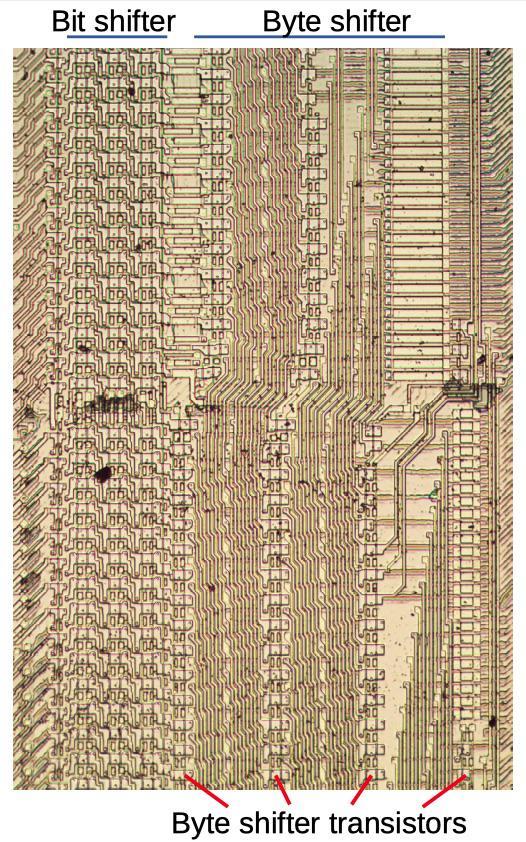 Анализ кристалла сдвигового регистра у математического сопроцессора 8087 - 9