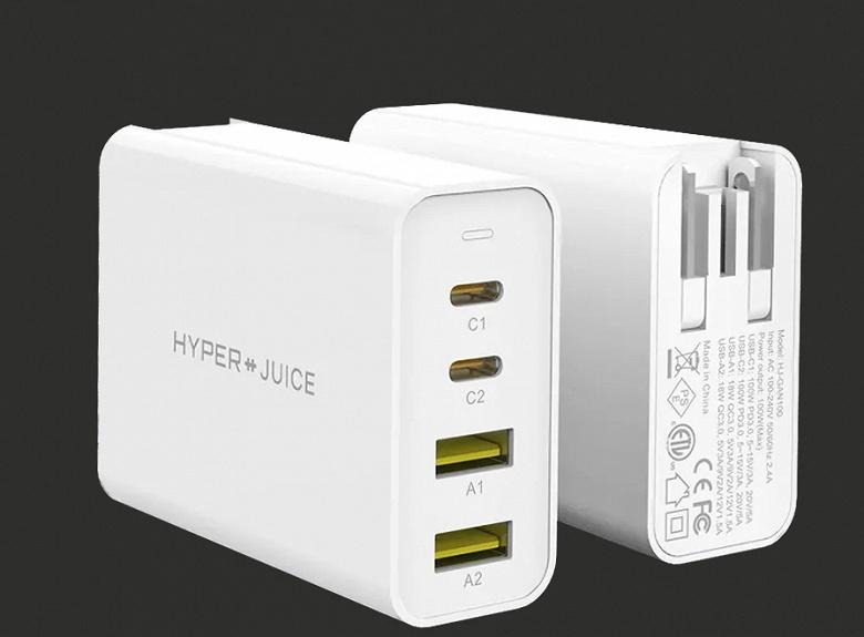Очень компактное 100-ваттное зарядное устройство с четырьмя портами USB. Hyper HyperJuice GaN 100W USB-C Charger поступает в продажу