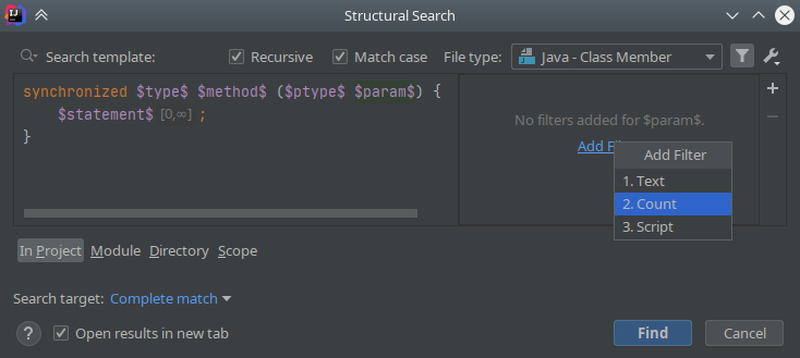 IntelliJ IDEA: Structural Search & Replace - 5