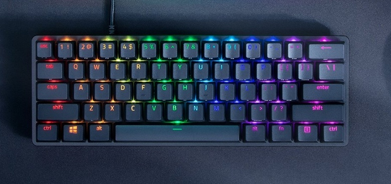 60-процентная клавиатура с оптическими переключателями. Представлена Razer Huntsman Mini