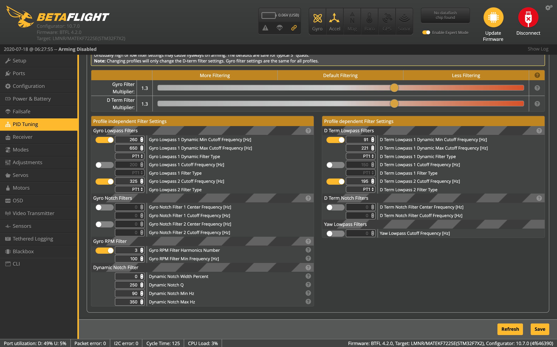FPV Квадрокоптер: Фильтрация в Betaflight - 13