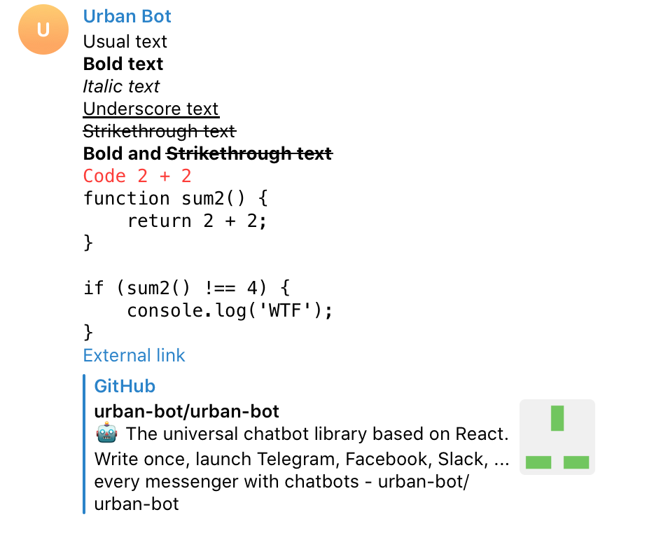 Urban Bot или как писать чат-ботов для Telegram, Slack, Facebook… на React.js - 3
