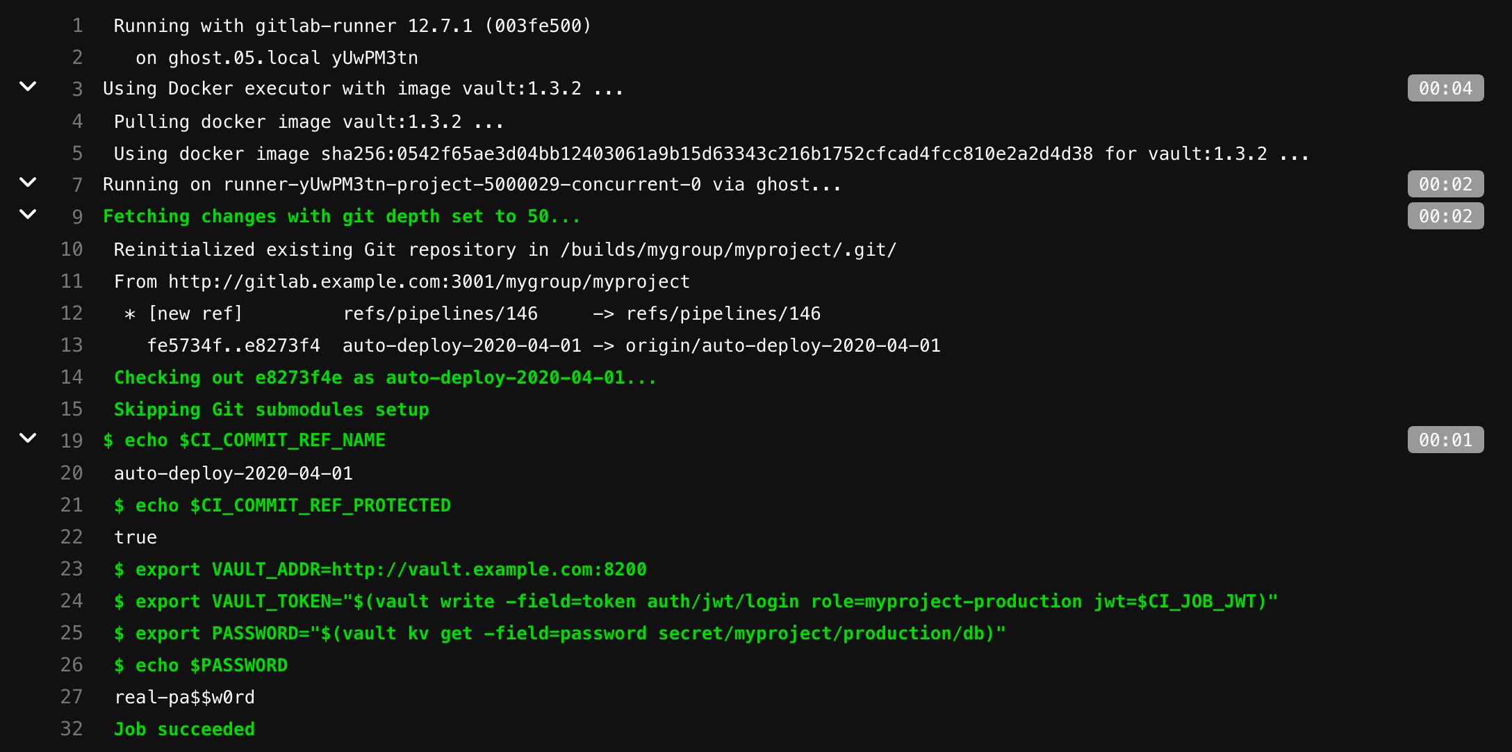 Аутентификация и чтение секретов в HashiCorp's Vault через GitLab CI - 3
