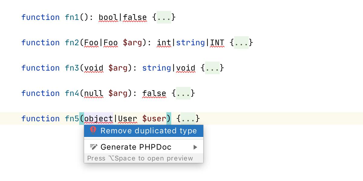 PhpStorm 2020.2: объединенные типы PHP 8, новый движок потока управления, пул-реквесты GitHub, OpenAPI - 8