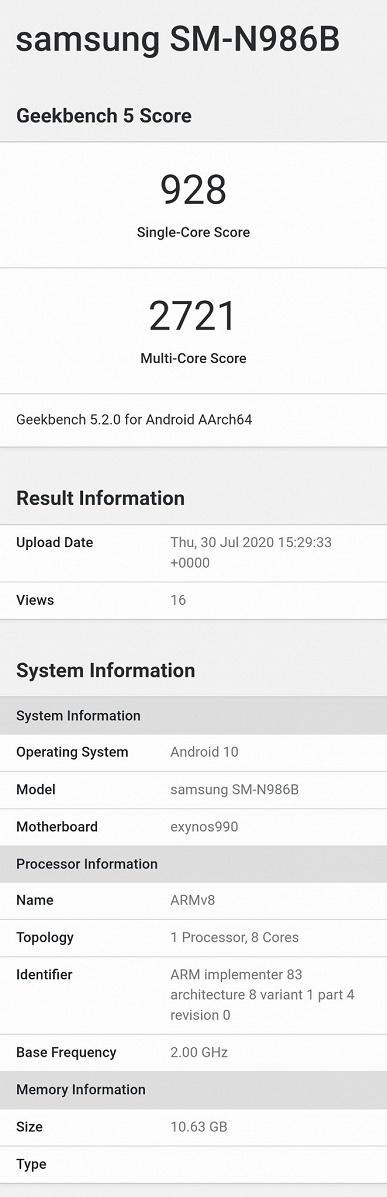 Samsung Galaxy Note20 проиграл в первом тесте Samsung Galaxy S20+