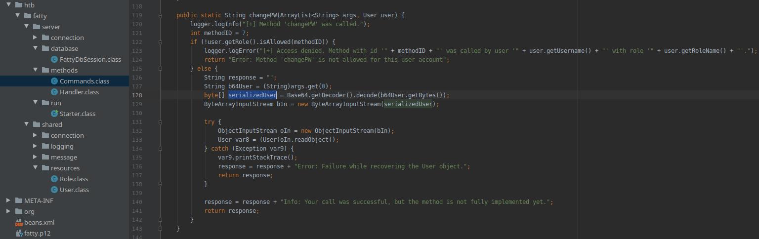 HackTheBox. Прохождение Fatty. Реверс и рекомпиляция клиент-серверного приложения. Java десериализация - 45