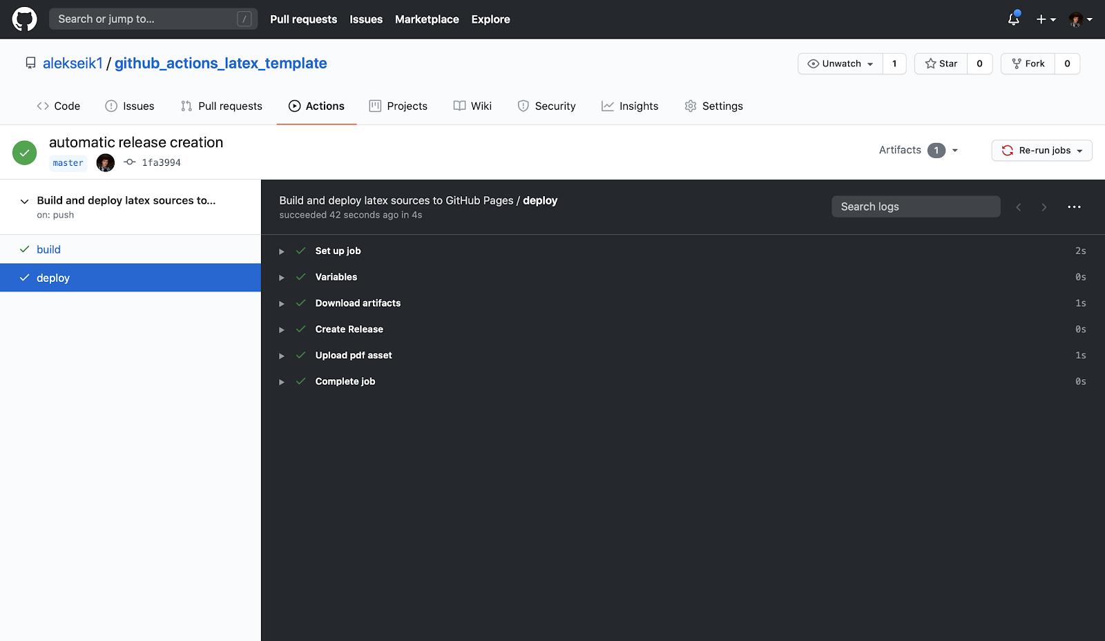GitHub Actions и LaTeX: поднимаем, заливаем - 4