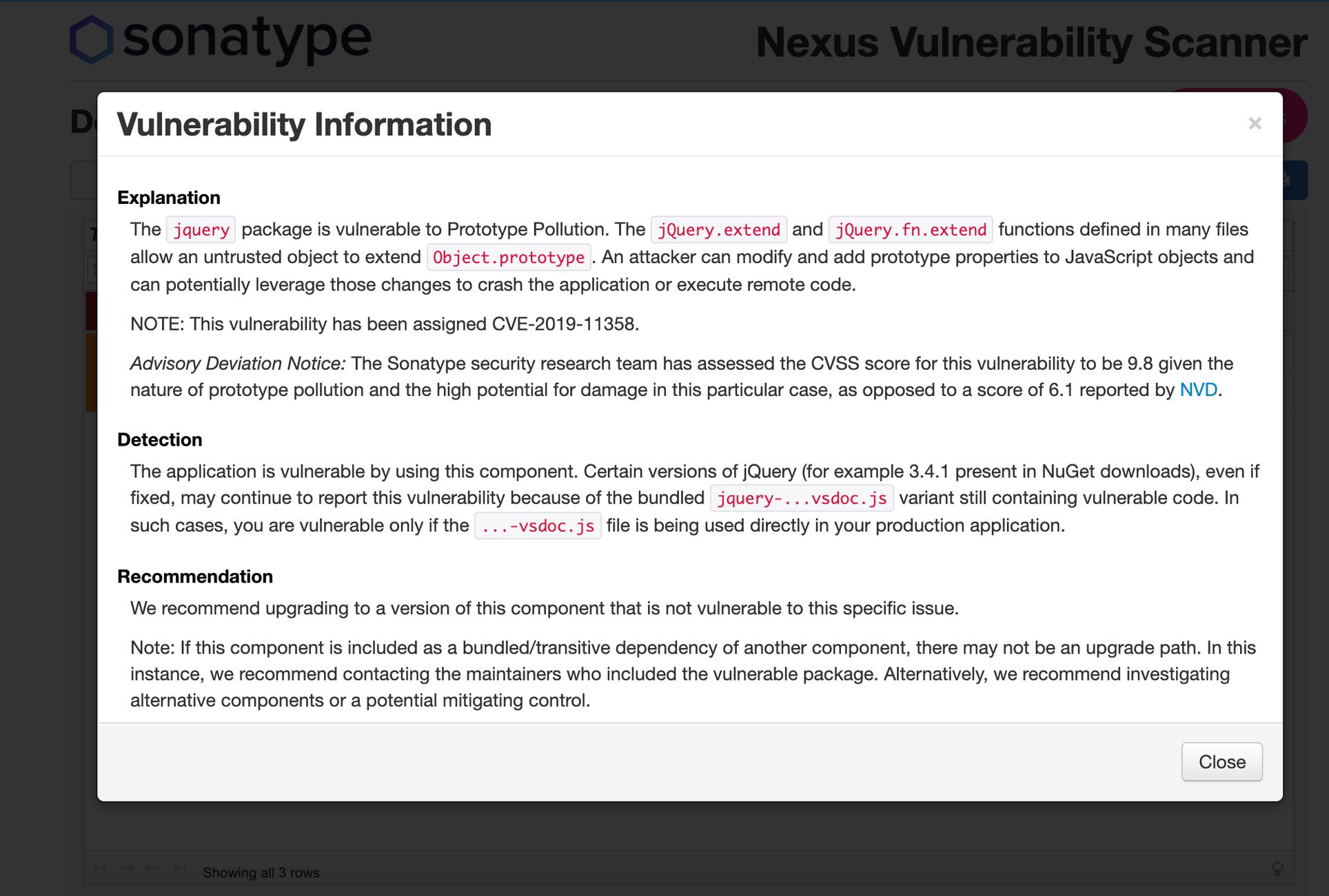 Скриншот из отчета Nexus Vulnerability Scanner