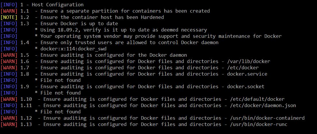 Результат сканирования Docker bench