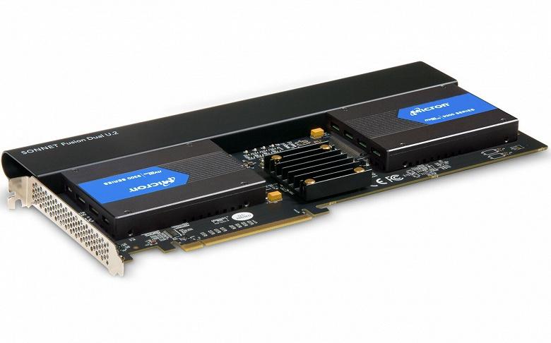 Карта Sonnet FUS-U2-2X4-E3 обеспечивает подключение двух твердотельных накопителей типоразмера U.2 к слоту PCIe