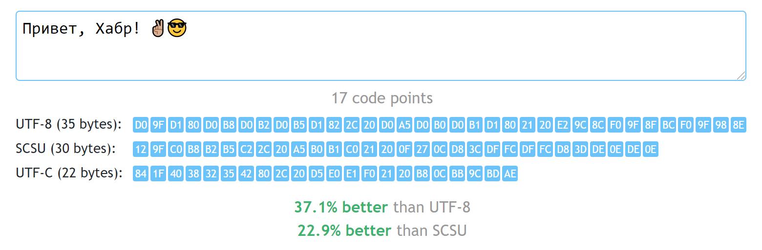 Ещё один велосипед: храним юникодные строки на 30-60% компактнее, чем UTF-8 - 1