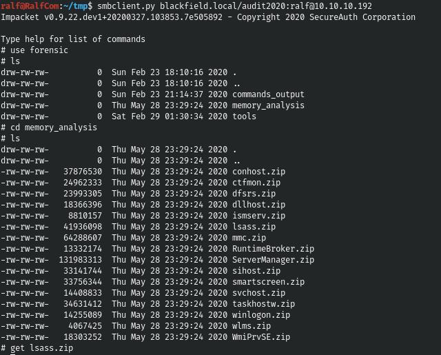 HackTheBox. Прохождение Blackfield. Захват контроллера домена через SMB и RPC, LPE через теневую копию - 12