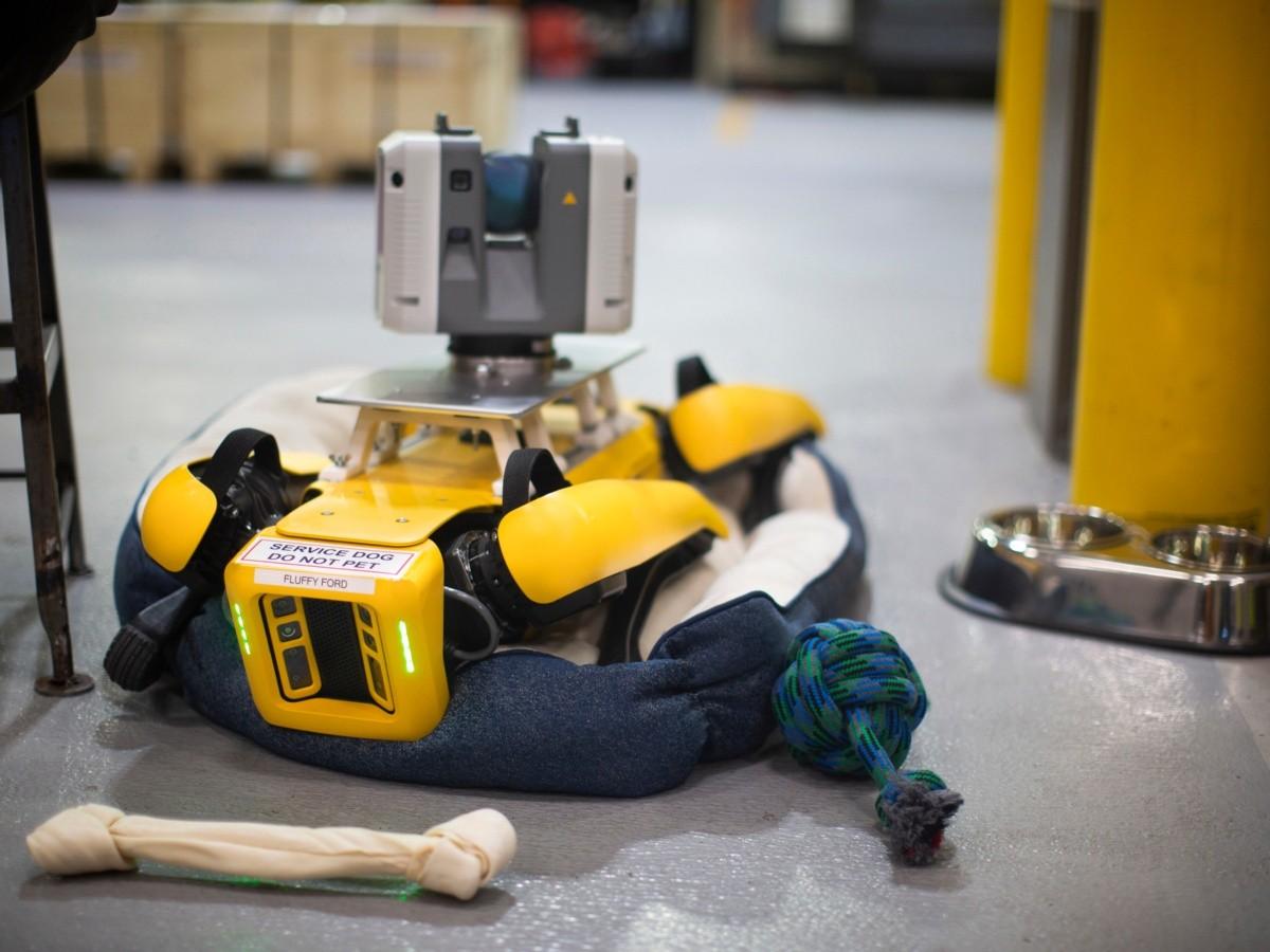 На спине этого песика закреплен лазерный сканер FARO