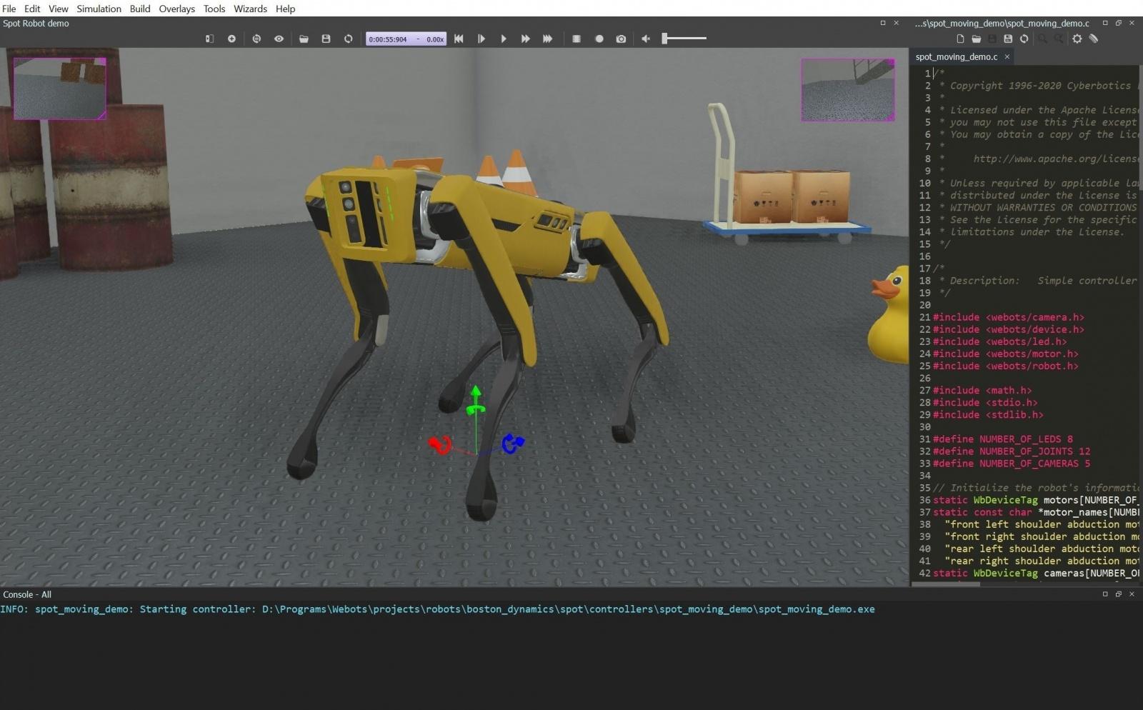 Spot в симуляторе Webots