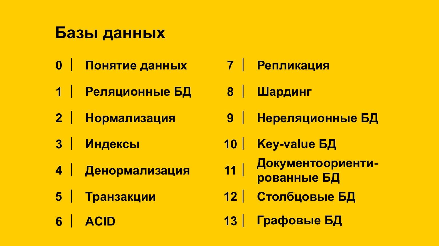Базы данных: большой обзор типов и подходов. Доклад Яндекса - 1