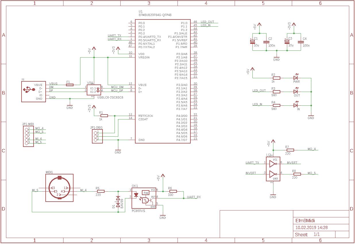 MIDI2USB Schematics