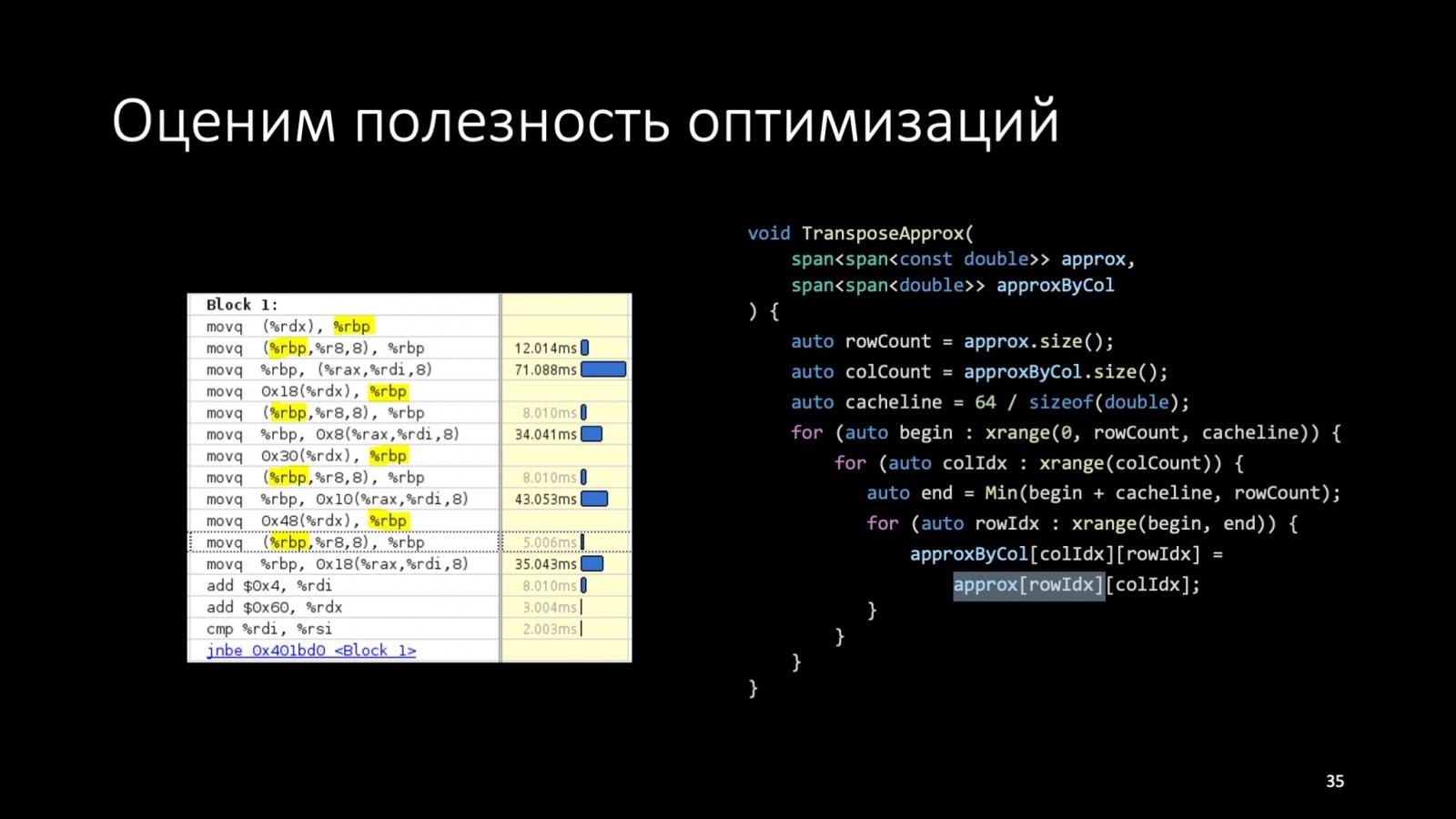 Оптимизация C++: совмещаем скорость и высокий уровень. Доклад Яндекса - 38