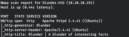 Hack The Box. Прохождение Blunder. Ломаем Bludit CMS - 2