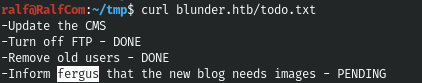 Hack The Box. Прохождение Blunder. Ломаем Bludit CMS - 4