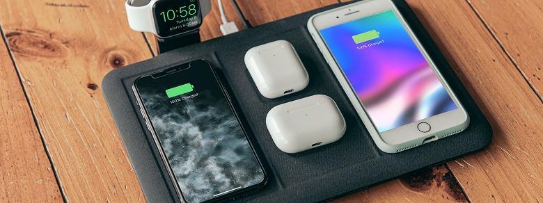Беспроводная зарядка Mophie 4-in-1 wireless charging mat может заряжать сразу шесть устройств, но с оговорками