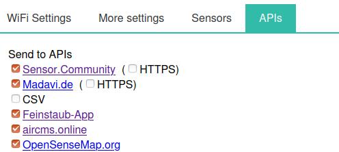 Настройки API датчика