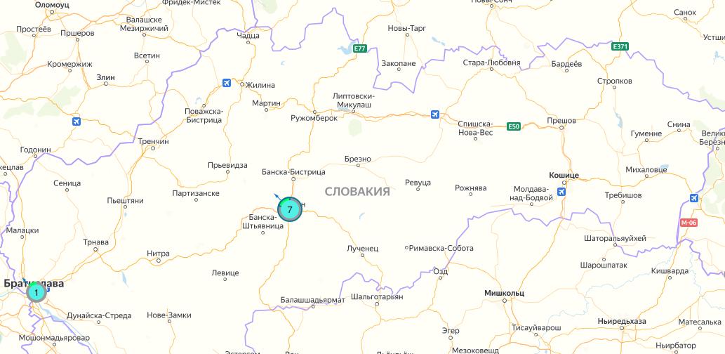 Словакия на AirCMS. Картографические данные: © Яндекс