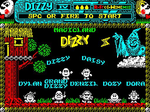 Скриншот стартового экрана Dizzy IV