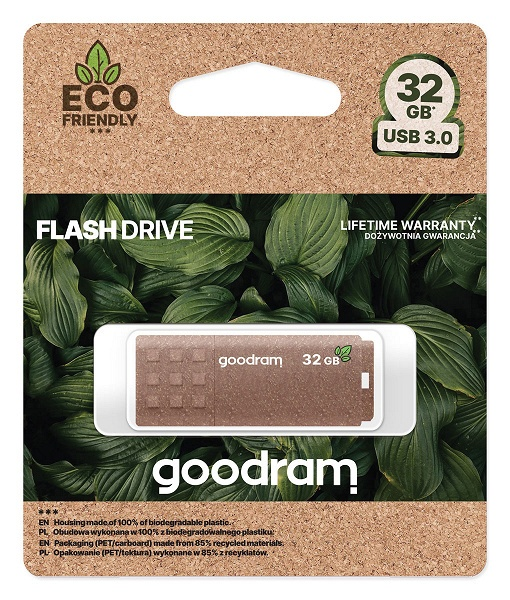 Корпус флешки Goodram UME Eco Friendly изготовлен из биоразлагаемого пластика