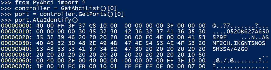 Немного помучившись, получаем ответ от SSD на команду идентификации