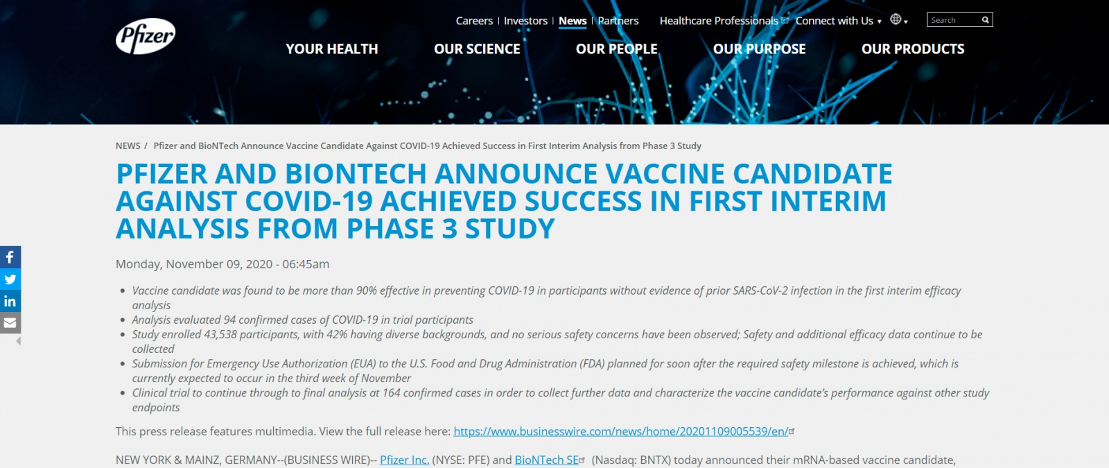 Источник: https://www.pfizer.com/news/press-release/press-release-detail/pfizer-and-biontech-announce-vaccine-candidate-against