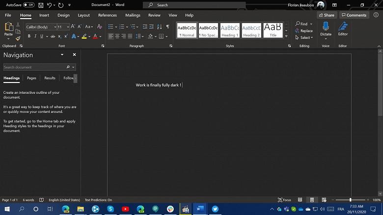 Самое полезное обновление Microsoft Office для работы по ночам. Совершенно чёрный Microsoft Word, целиком и полностью