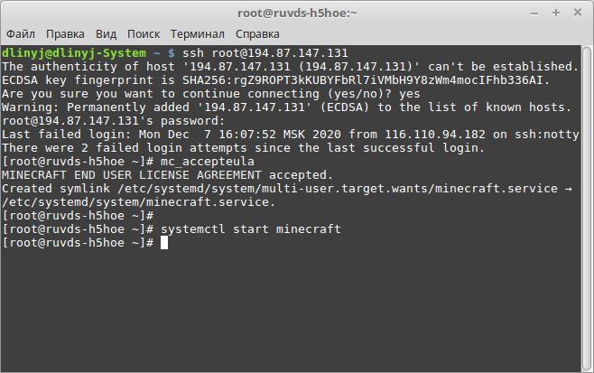 Разворачивание Minecraft сервера под linux - 4