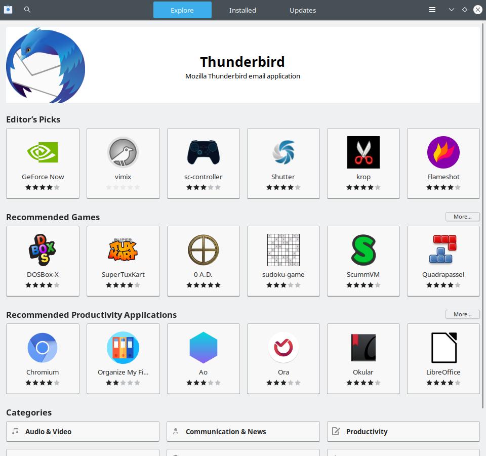 GNOME Software с фирменной кнопочкой в заголовке окна