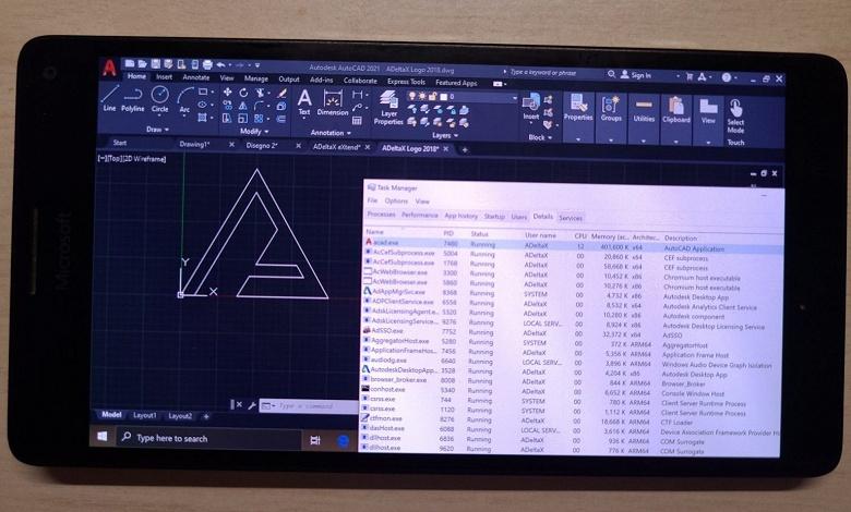 Полноценный AutoCAD запустили на смартфоне Microsoft 2015 года