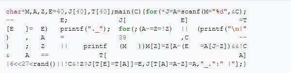 Красивый пример из Википедии кода, прошедшего обфускацию.