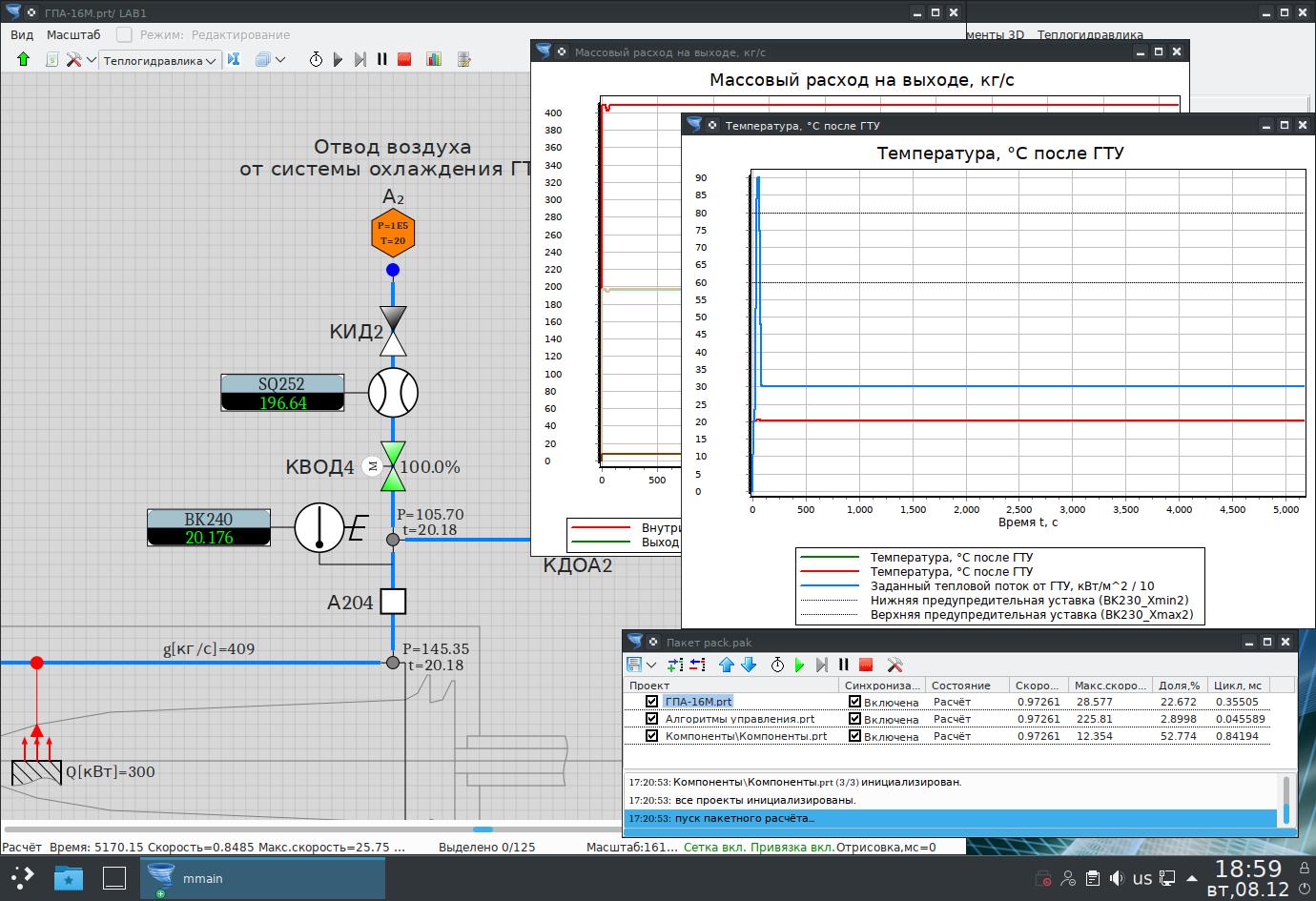 Фрагмент динамической модели газотурбинной установки под Alt Linux 9