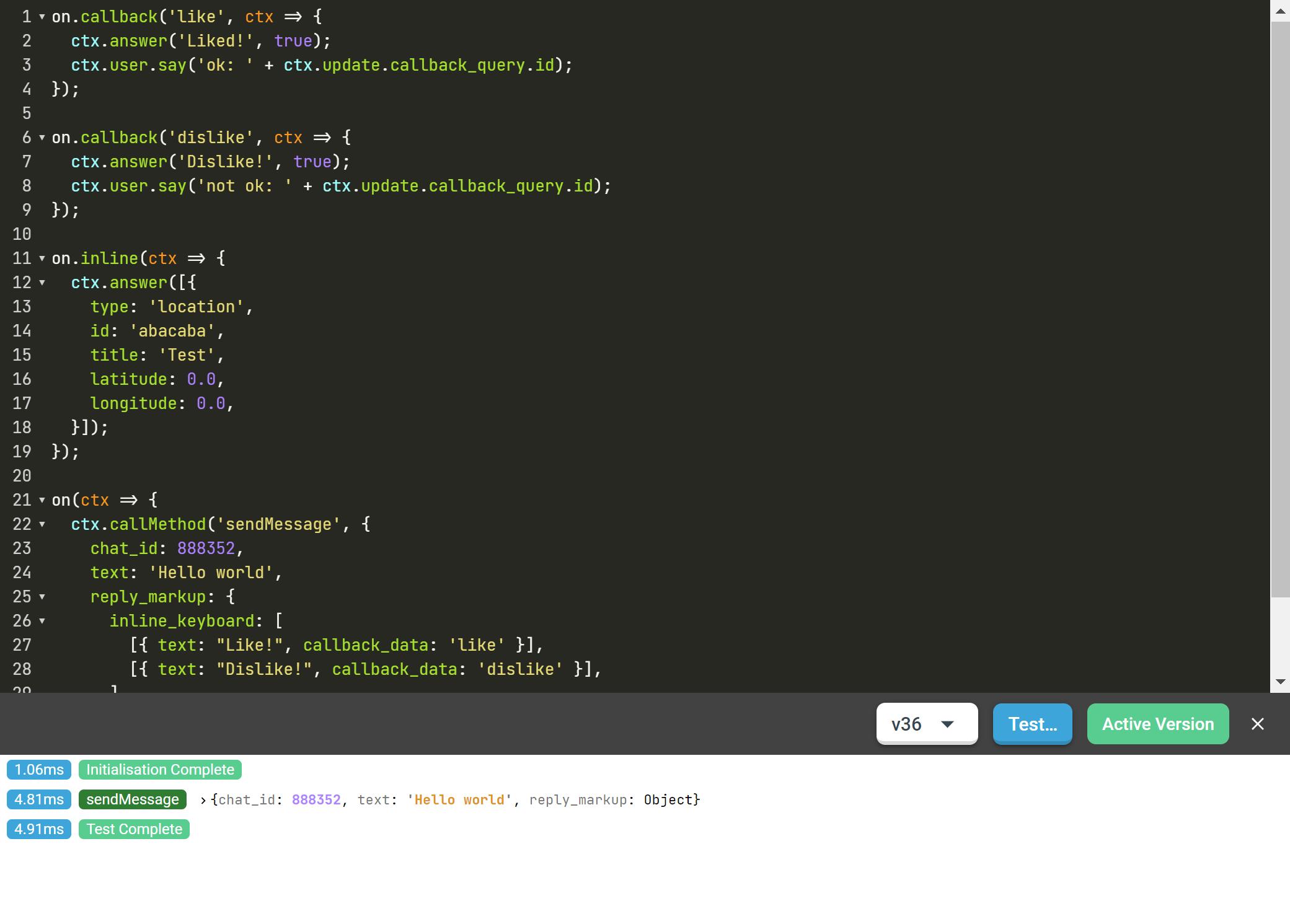 Так сейчас выглядит редактор кода в Botsman