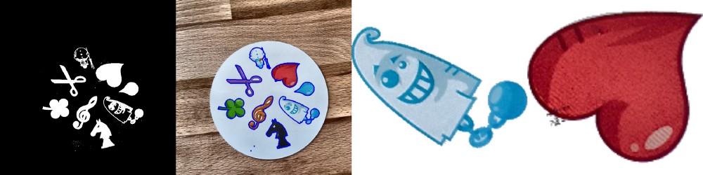 Разделённое по порогу, с определёнными контурами, картинки призрака и сердца (вырезанные по маске)