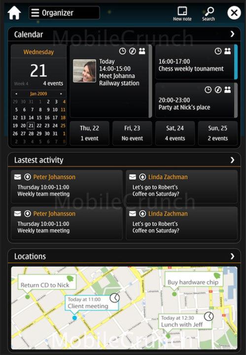 Оригинальный пользовательский интерфейс Harmattan, изображение предоставлено Tech Crunch