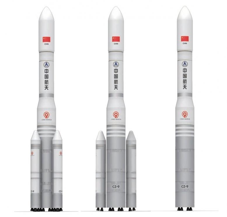 Внешний вид  ракеты CZ-9 и её двух упрощенных вариантов