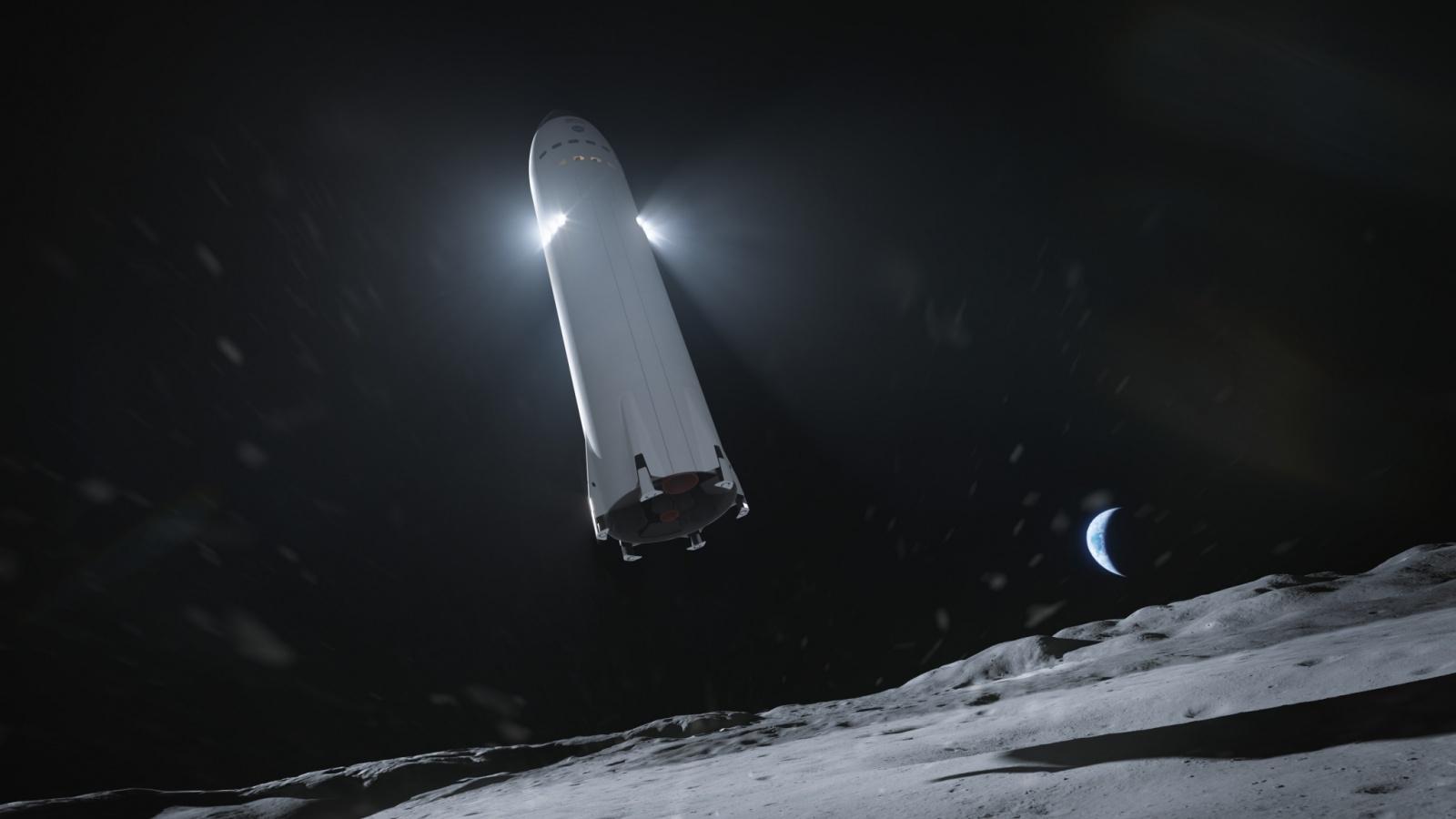 Лунный посадочный вариант Starship без аэродинамических поверхностей, с дополнительными двигателями посадки в верхней части корпуса, в представлении художника