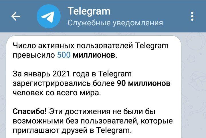 За три недели января к Telegram присоединилось 90 млн пользователей